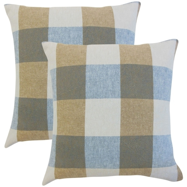 Set of 2 Amory Plaid Throw Pillows in Indigo