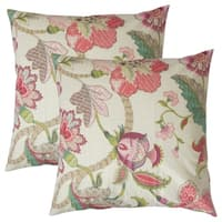 Set of 2  Juhani Floral Throw Pillows in Rose Green