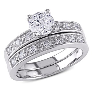 Miadora Sterling Silver White Cubic Zirconia Bridal Ring Set