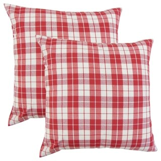 Set of 2 Joss Plaid Throw Pillows in Red