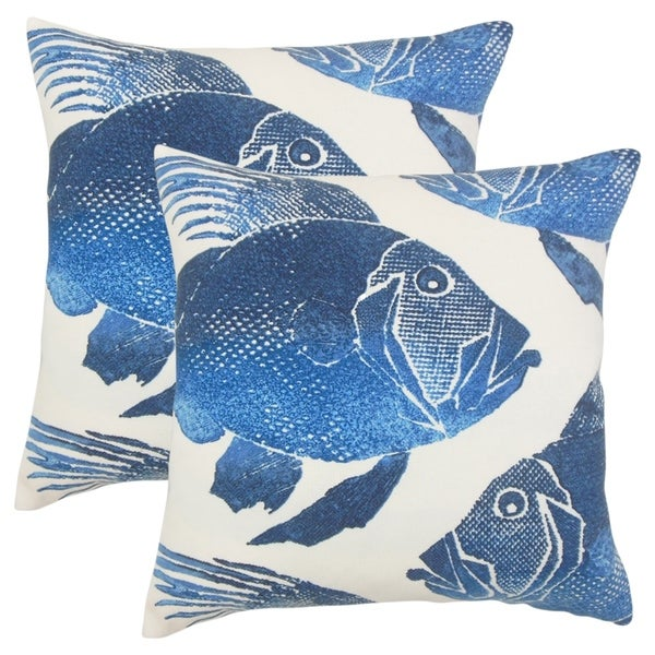 Set of 2 Lael Outdoor Throw Pillows in Cobalt
