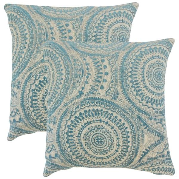 Set of 2 Freira Geometric Throw Pillows in Teal
