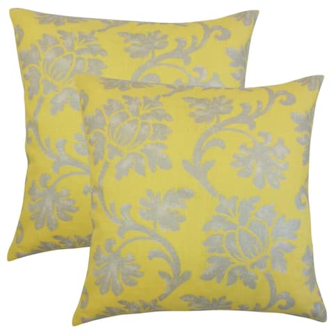 Set of 2 Patrice Floral Throw Pillows in Canary