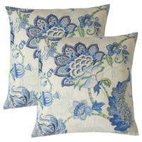 Set of 2  Lieve Floral Throw Pillows in Blue
