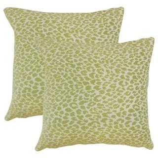 Set of 2  Pesach Animal Print Throw Pillows in Kiwi