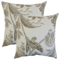Set of 2  Taja Floral Throw Pillows in Ash