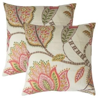 Set of 2  Mazatl Floral Throw Pillows in Blush