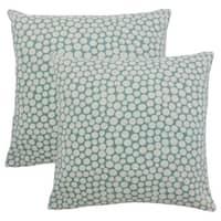 Set of 2  Elif Polka Dot Throw Pillows in Cyan