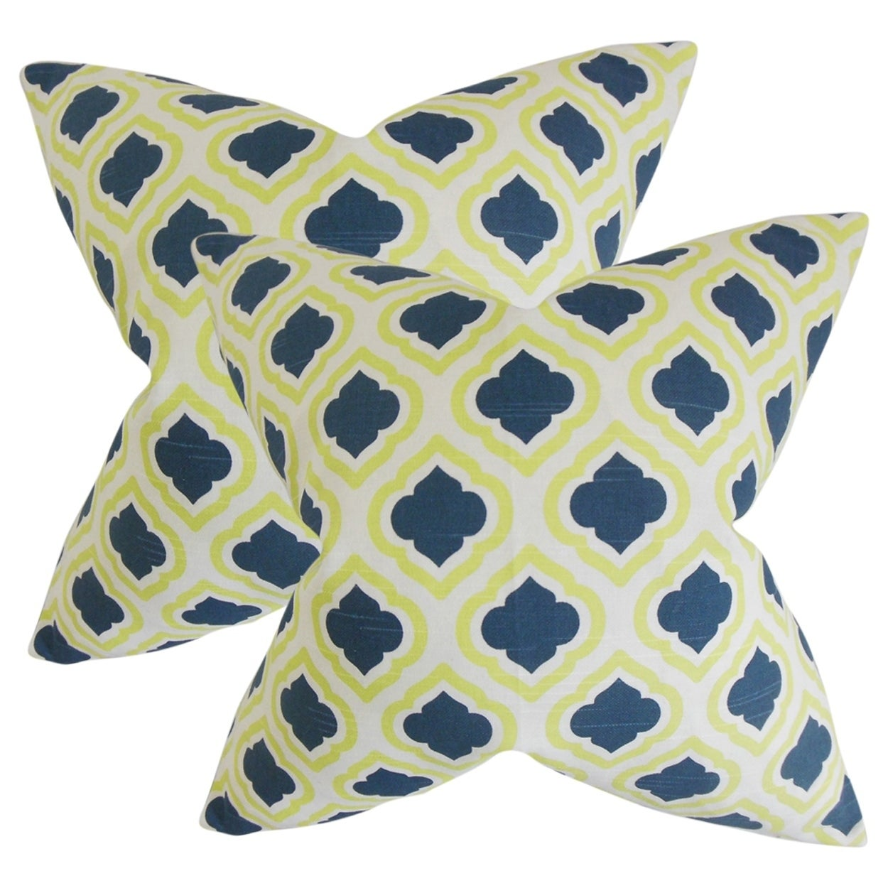 Set Of 2 Abijah Geometric Throw Pillows In Yellow Blue Overstock 18154232