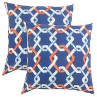Set of 2  Jabre Outdoor Throw Pillows in Blue