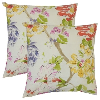 Set of 2  Niatohsa Floral Throw Pillows in Pink Green