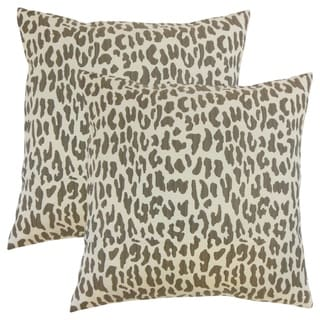 Set of 2  Ilandere Animal Print Throw Pillows in Linen