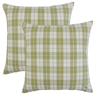 Set of 2  Joss Plaid Throw Pillows in Sage