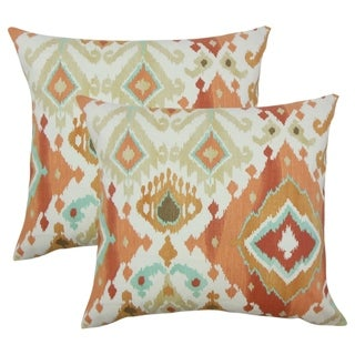 Set of 2  Gannet Ikat Throw Pillows in Clay