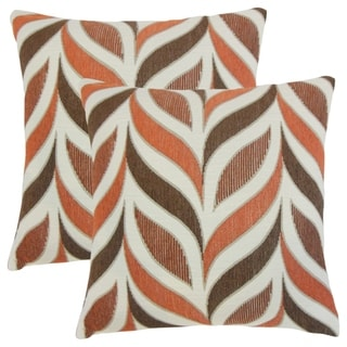 Set of 2  Veradis Geometric Throw Pillows in Coral