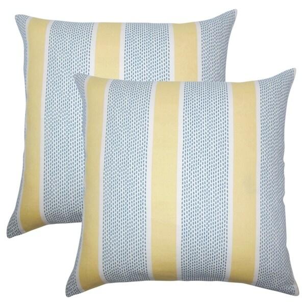 Set of 2 Velten Striped Throw Pillows in Lemon