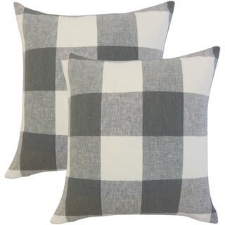 Set of 2 Amory Plaid Throw Pillows in Coal
