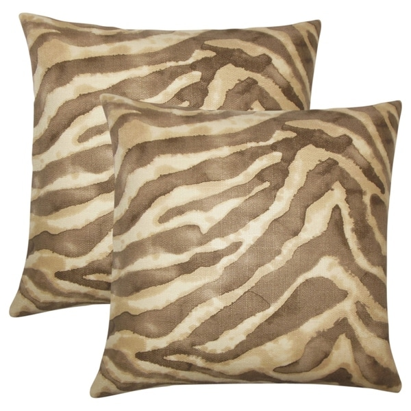 Set of 2 Zelig Animal Print Throw Pillows in Pink