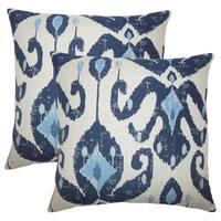 Set of 2  Eitan Ikat Throw Pillows in Navy