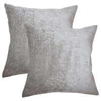 Set of 2  Gefion Solid Throw Pillows in Silver
