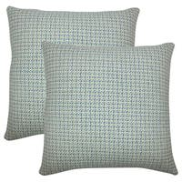 Set of 2  Paley Plaid Throw Pillows in Blue Green