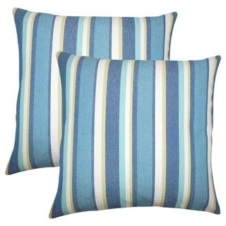 Set of 2  Reiki Striped Throw Pillows in Caribbean