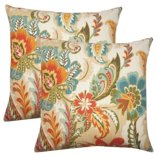 Set of 2  Danail Floral Throw Pillows in Autumn