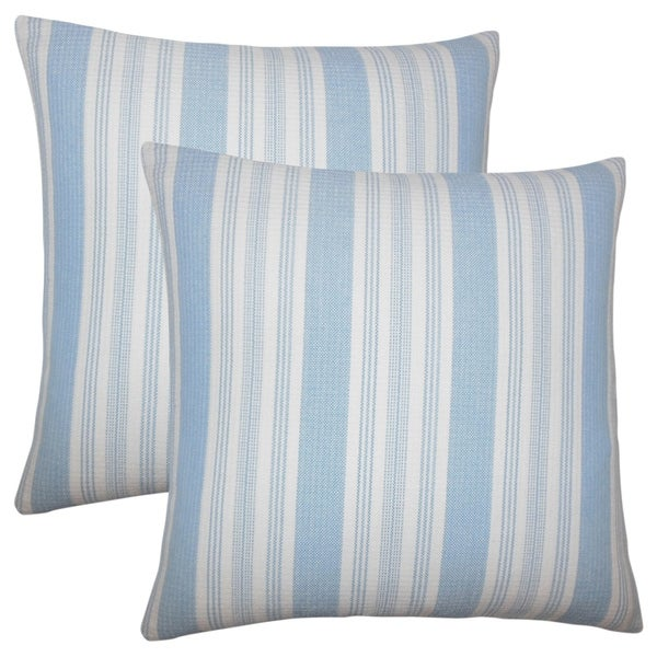 Set of 2 Reiki Striped Throw Pillows in Chambray