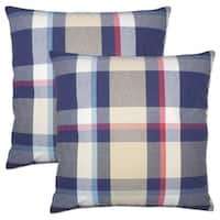 Set of 2  Ofer Plaid Throw Pillows in Red Blue