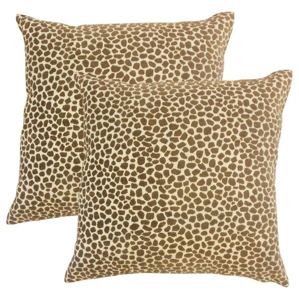 Set of 2 Meltem Animal Print Throw Pillows in Teak