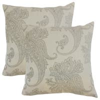 Set of 2  Galia Paisley Throw Pillows in Linen