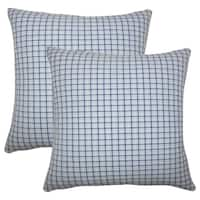 Set of 2  Quora Plaid Throw Pillows in Blue