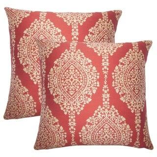 Set of 2  Zanthe Damask Throw Pillows in Cayenne