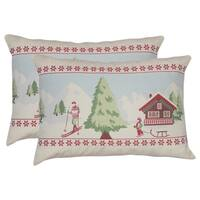 Set of 2  Claus Holiday Throw Pillows in White