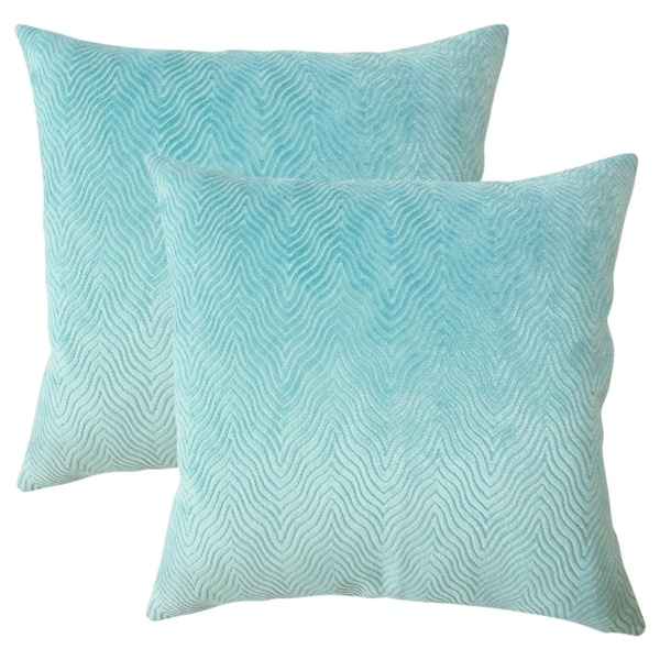 Set of 2 Idarine Solid Throw Pillows in Turquoise