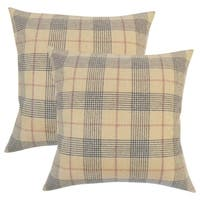 Set of 2  Everly Plaid Throw Pillows in Brown