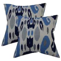 Set of 2  Franka Ikat Throw Pillows in Blue