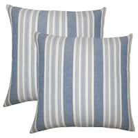 Set of 2  Reiki Striped Throw Pillows in Denim