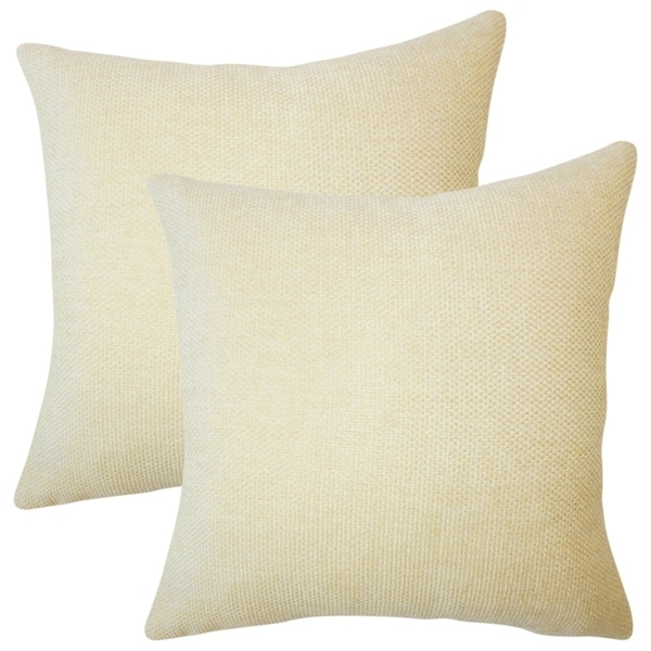 Set of 2 Yuna Solid Throw Pillows in Jonquil