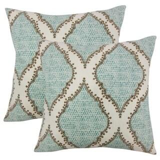 Set of 2  Willem Ikat Throw Pillows in Peacock