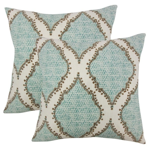 Set of 2 Willem Ikat Throw Pillows in Peacock