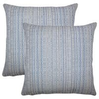 Set of 2  Macall Striped Throw Pillows in Lapis
