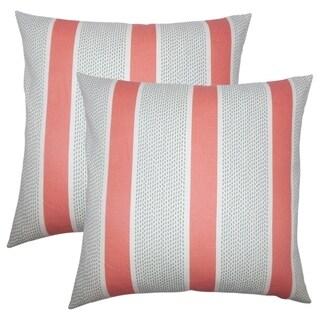 Set of 2  Velten Striped Throw Pillows in Coral