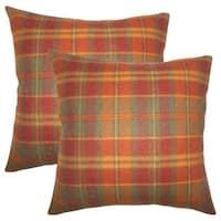 Set of 2  Heaton Plaid Throw Pillows in Orange