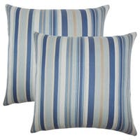 Set of 2  Urbaine Striped Throw Pillows in Blue Brown