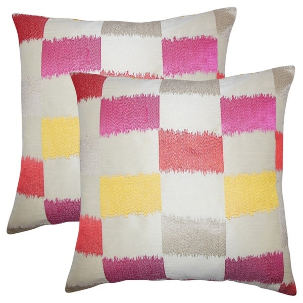 Set of 2 Ruchel Geometric Throw Pillows in Flame