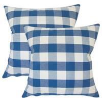 Set of 2  Yaritza Plaid Throw Pillows in Blue