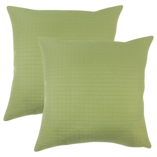 Set of 2 Faylinn Solid Throw Pillows in Green