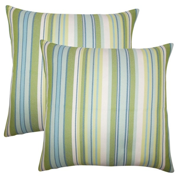 Shop Set Of 2 Urbaine Striped Throw Pillows In Blue Green