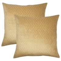 Set of 2  Delora Solid Throw Pillows in Gold